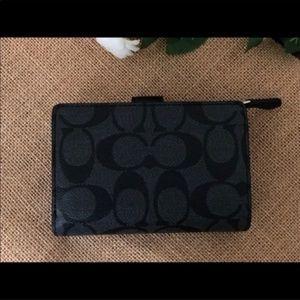 Coach Bags - COACH Medium Corner Zip Wallet Black Silver